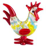 Miniature Hand Blown Glass Wavy Red & Yellow Rooster Chicken Figurine