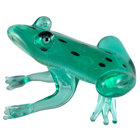 Hand Blown Art Glass Spotted Aqua Green Silver Frog Figurine