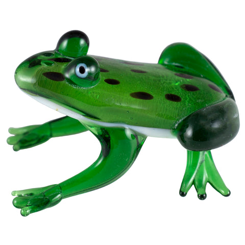 "Hand Blown Glass Spotted Green Silver Frog Figurine 2""L"