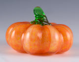 Small Orange Pumpkin With Lighter Ribs Hand Blown Glass