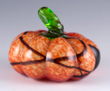 Small Orange Mottled Pumpkin With Black Lines Hand Blown Glass
