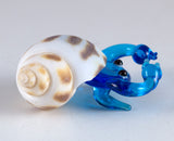 Hermit Crab Miniature Light Blue Hand Blown Glass Figurine