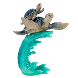 Blue Sea Turtles Swimming On Wave Figurine 3