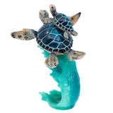 Blue Sea Turtles Swimming On Wave Figurine 5