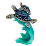 Blue Sea Turtles Swimming On Wave Figurine 1
