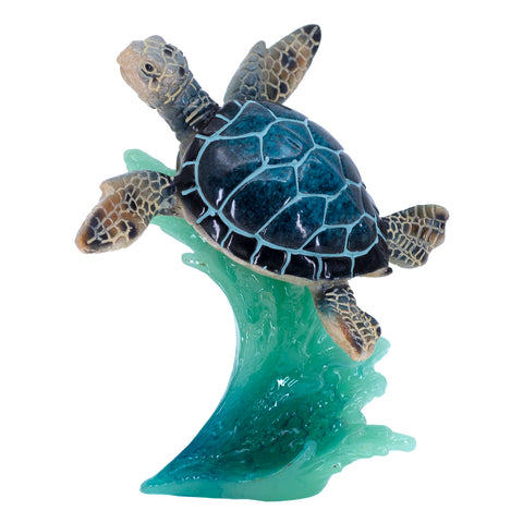 Blue Sea Turtle Swimming On Wave Figurine 1