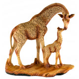 Mother and Baby Giraffe Faux Carved Wood Look Figurine 1