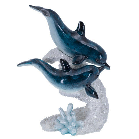 Pair of Dolphins Swimming On Faux Coral Figurine 1