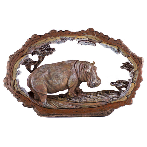 Hippopotamus Hippo Figurine Faux Carved Wood Look Bark Frame