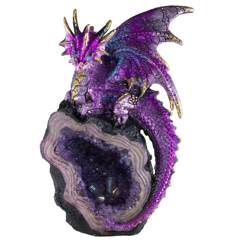 Purple Dragon Guarding Crystals In Geode Rock Figurine 1