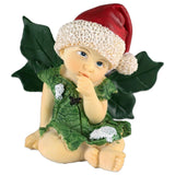 Christmas Baby Fairy In Santa Hat Figurine With Holly Leaf Wings