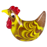 Miniature Hand Blown Glass Wavy Yellow & Clear Hen Chicken Figurine