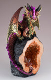 Red Dragon Guarding Crystals In Geode Rock Figurine