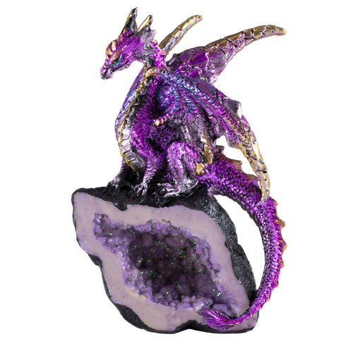 Purple Dragon On Geode Rock Figurine 1