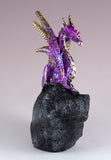 Purple Dragon On Geode Rock Figurine 2