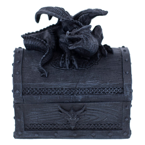 Black Dragon On Opening Treasure Chest Figurine 1