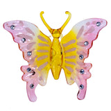 Hand Blown Glass Pink & Yellow Butterfly Figurine 1