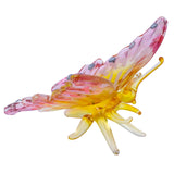 Hand Blown Glass Pink & Yellow Butterfly Figurine 2