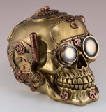 Steampunk Skull Gold and Copper Colored Figurine