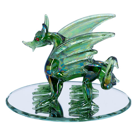 Hand Blown Glass Green Dragon Figurine On Beveled Mirror 1