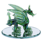 Hand Blown Glass Green Dragon Figurine On Beveled Mirror 3