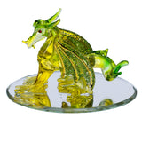 Hand Blown Glass Yellow and Green Dragon Figurine On Beveled Mirror 1
