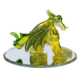 Hand Blown Glass Yellow and Green Dragon Figurine On Beveled Mirror 2