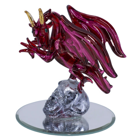 Hand Blown Glass Red Dragon On Skull Figurine On Mirror Base 1
