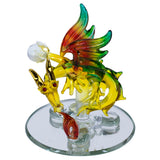 "Hand Blown Glass Fire Breathing Dragon Figurine On Beveled Mirror 3.75""H"