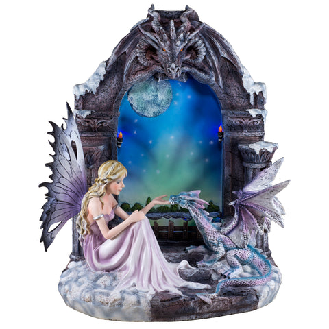 Fairy With Dragon In LED Castle Window Figurine Statue 1