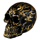 Black Skull With Gold Motifs Gold Teeth Figurine 1