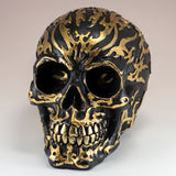 Black Skull With Gold Motifs Gold Teeth Figurine 2
