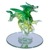 Hand Blown Glass Green Dragon Figurine On Beveled Mirror 2