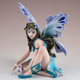 Blue Sitting Fairy With Flowers Figurine 2