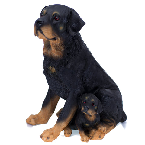 Rottweiler Dog Mother and Puppy Figurine 1
