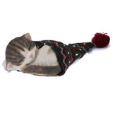 Sleeping Gray Kitten In Knit Woven Hat Cat Figurine 1