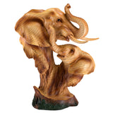 Elephant With Calf Head Bust Faux Carved Wood Look Figurine 1