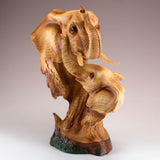 Elephant With Calf Head Bust Faux Carved Wood Look Figurine 2
