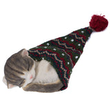 Sleeping Gray Kitten In Knit Woven Hat Cat Figurine 2