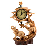 Elephant Family Faux Carved Wood Look Clock 1