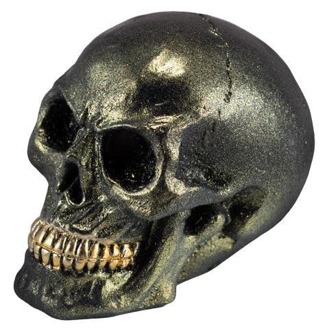 Mini Green Metallic Skull With Gold Teeth Figurine 1