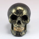 Mini Green Metallic Skull With Gold Teeth Figurine 2