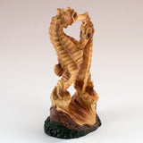 Mini Seahorse Couple Faux Carved Wood Look Figurine 10