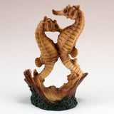 Mini Seahorse Couple Faux Carved Wood Look Figurine 11