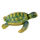 Mini Green Sea Turtle Faux Carved Wood Look Figurine 5