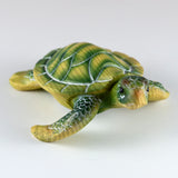 Mini Green Sea Turtle Faux Carved Wood Look Figurine 6