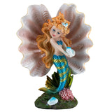 Blue Mermaid Girl In Clam Shell Figurine 1