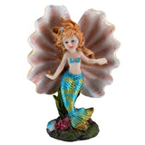 Blue Mermaid Girl In Clam Shell Figurine 6