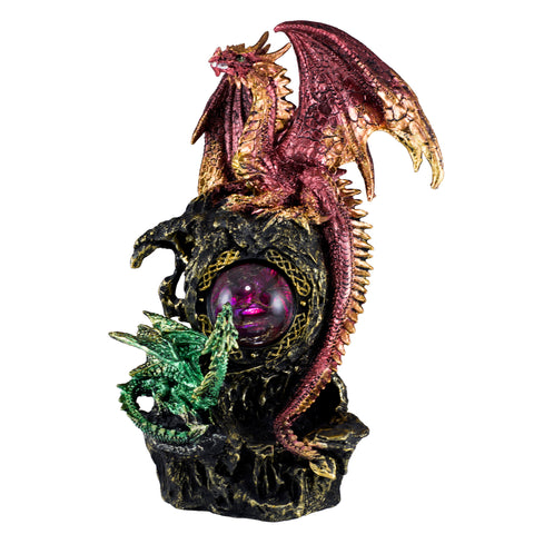 Mother and Baby Dragon With LED Crystal Ball Figurine Statue 1