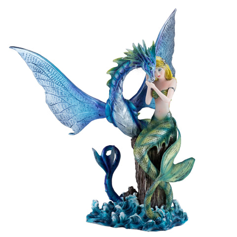 Green Mermaid With Sea Dragon Serpent Figurine 1